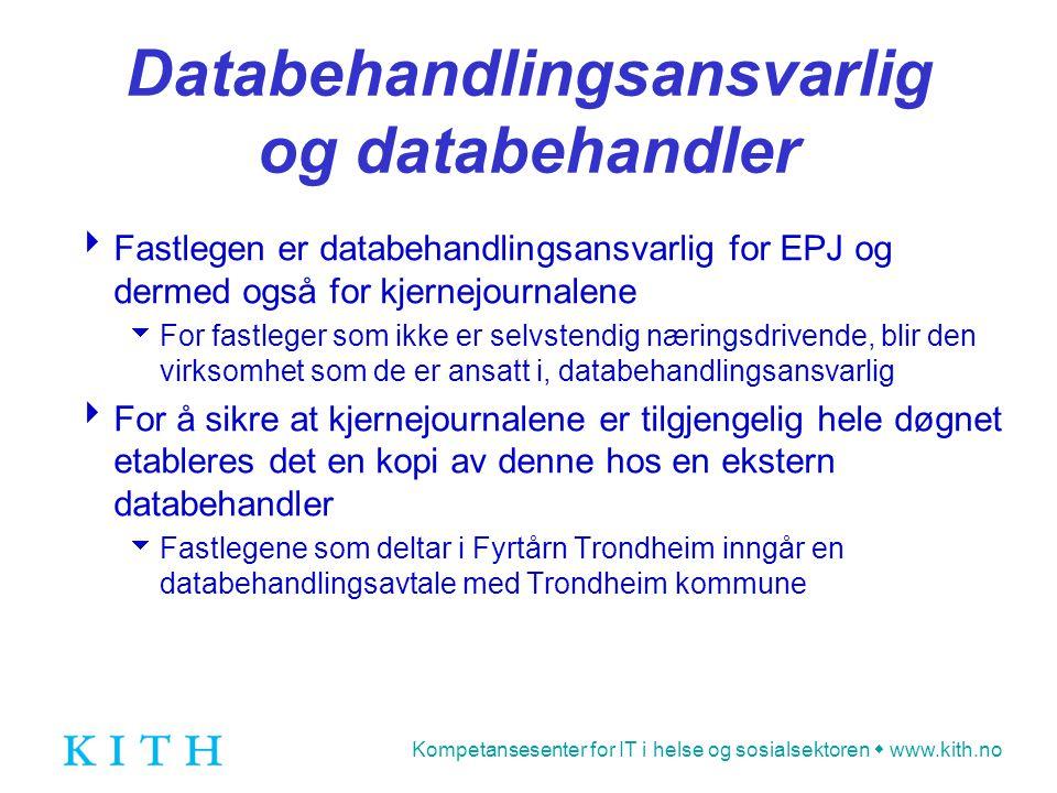 Kompetansesenter for IT i helse og sosialsektoren  www.kith.no Databehandlingsansvarlig og databehandler  Fastlegen er databehandlingsansvarlig for