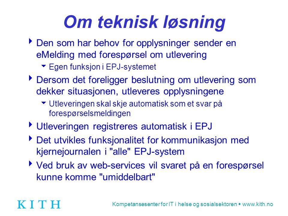 Kompetansesenter for IT i helse og sosialsektoren  www.kith.no Om teknisk løsning  Den som har behov for opplysninger sender en eMelding med forespø