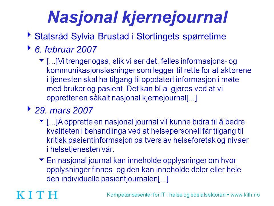 Kompetansesenter for IT i helse og sosialsektoren  www.kith.no Nasjonal kjernejournal  Statsråd Sylvia Brustad i Stortingets spørretime  6. februar