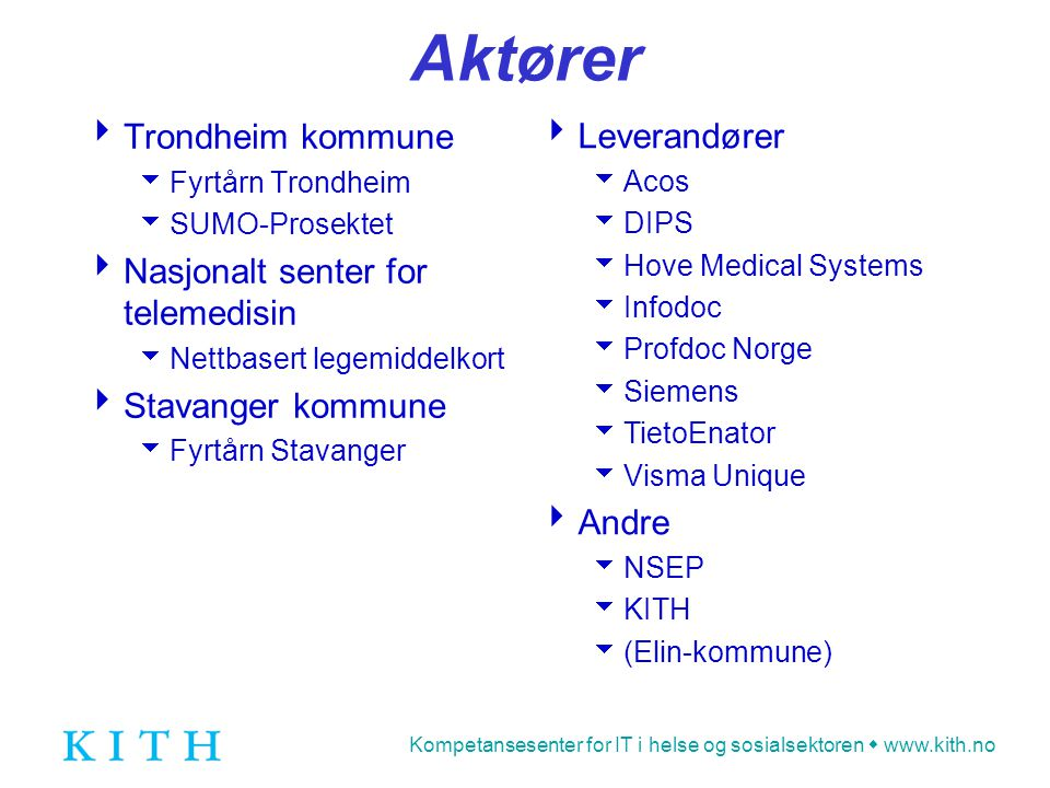 Kompetansesenter for IT i helse og sosialsektoren  www.kith.no Aktører  Trondheim kommune  Fyrtårn Trondheim  SUMO-Prosektet  Nasjonalt senter fo
