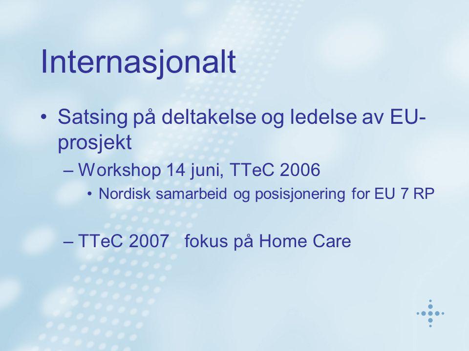 Internasjonalt Satsing på deltakelse og ledelse av EU- prosjekt –Workshop 14 juni, TTeC 2006 Nordisk samarbeid og posisjonering for EU 7 RP –TTeC 2007