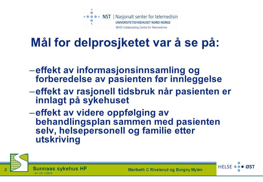 Maribeth C Rivelsrud og Borgny Mylén2 Sunnaas sykehus HF - en vei videre Mål for delprosjketet var å se på: –effekt av informasjonsinnsamling og forbe