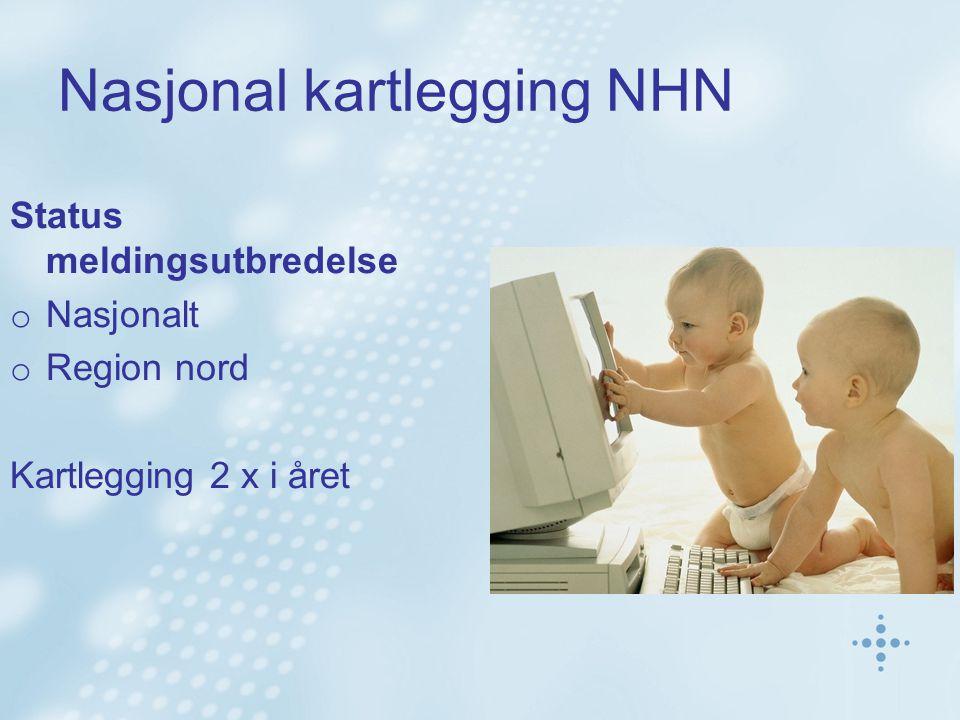 Nasjonal kartlegging NHN Status meldingsutbredelse o Nasjonalt o Region nord Kartlegging 2 x i året