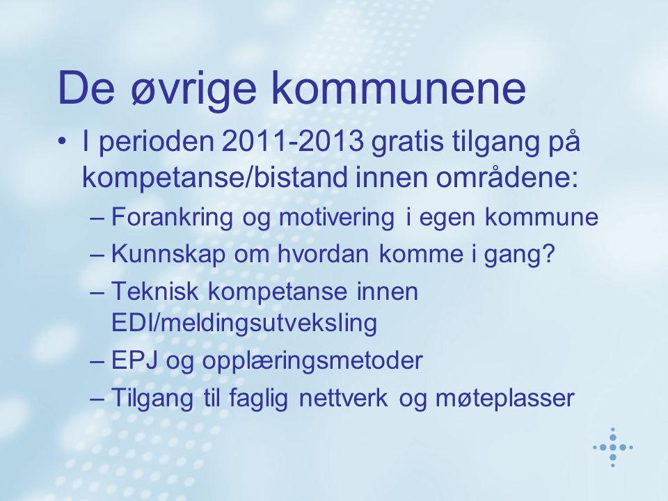 De øvrige kommunene I perioden 2011-2013 gratis tilgang på kompetanse/bistand innen områdene: –Forankring og motivering i egen kommune –Kunnskap om hvordan komme i gang.