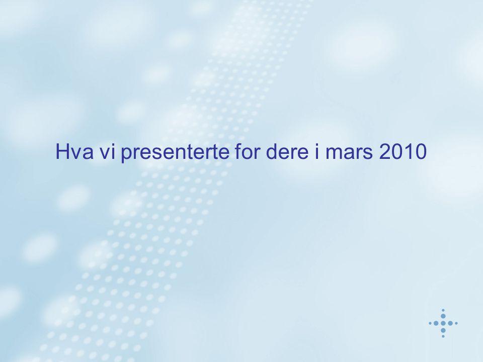 Hva vi presenterte for dere i mars 2010