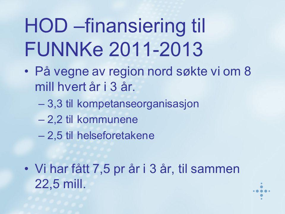 HOD –finansiering til FUNNKe 2011-2013 På vegne av region nord søkte vi om 8 mill hvert år i 3 år.
