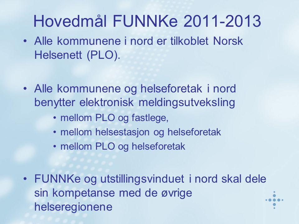 Hovedmål FUNNKe 2011-2013 Alle kommunene i nord er tilkoblet Norsk Helsenett (PLO).