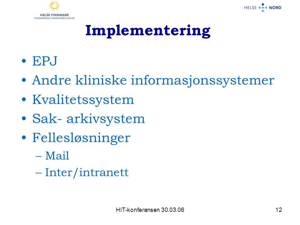 HIT-konferansen 30.03.0612 Implementering EPJ Andre kliniske informasjonssystemer Kvalitetssystem Sak- arkivsystem Fellesløsninger –Mail –Inter/intranett