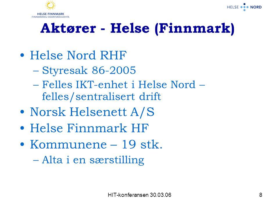 HIT-konferansen 30.03.068 Aktører - Helse (Finnmark) Helse Nord RHF –Styresak 86-2005 –Felles IKT-enhet i Helse Nord – felles/sentralisert drift Norsk Helsenett A/S Helse Finnmark HF Kommunene – 19 stk.