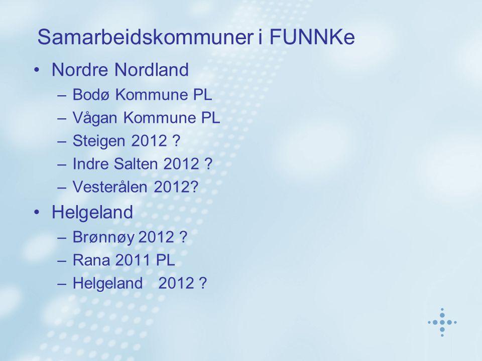 Samarbeidskommuner i FUNNKe Nordre Nordland –Bodø Kommune PL –Vågan Kommune PL –Steigen 2012 ? –Indre Salten 2012 ? –Vesterålen 2012? Helgeland –Brønn
