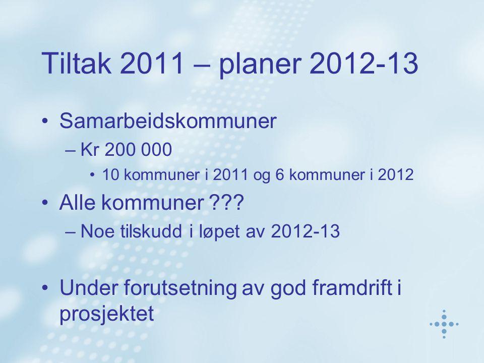 Tiltak 2011 – planer 2012-13 Samarbeidskommuner –Kr 200 000 10 kommuner i 2011 og 6 kommuner i 2012 Alle kommuner ??? –Noe tilskudd i løpet av 2012-13