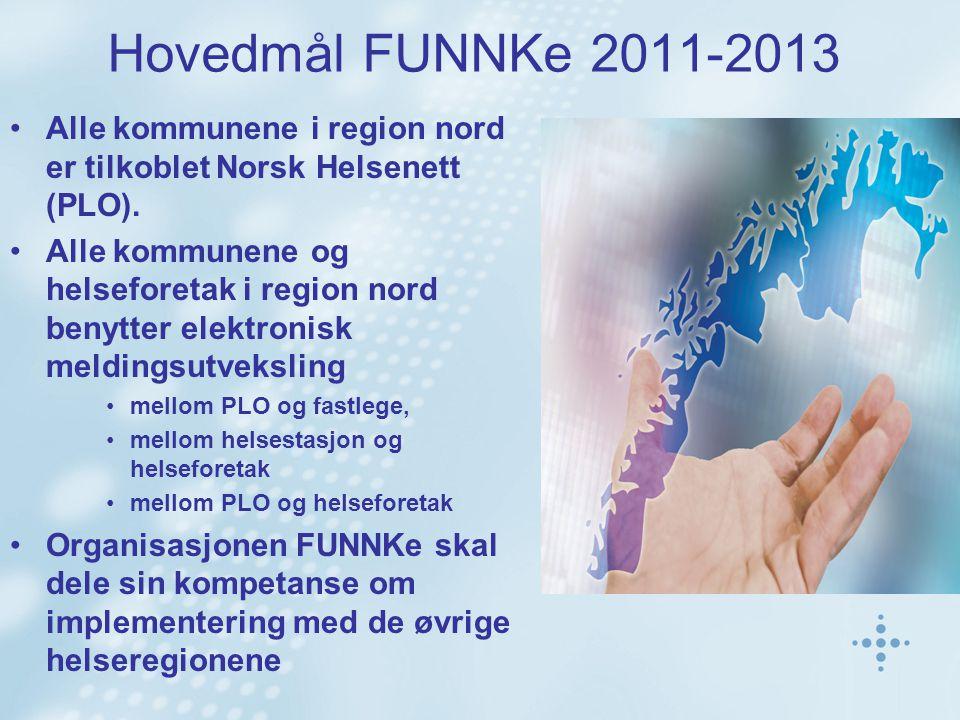 Hovedmål FUNNKe 2011-2013 Alle kommunene i region nord er tilkoblet Norsk Helsenett (PLO). Alle kommunene og helseforetak i region nord benytter elekt