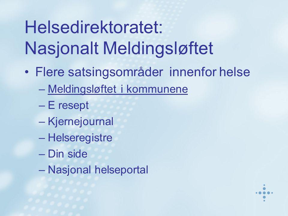 Helsedirektoratet: Nasjonalt Meldingsløftet Flere satsingsområder innenfor helse –Meldingsløftet i kommunene –E resept –Kjernejournal –Helseregistre –
