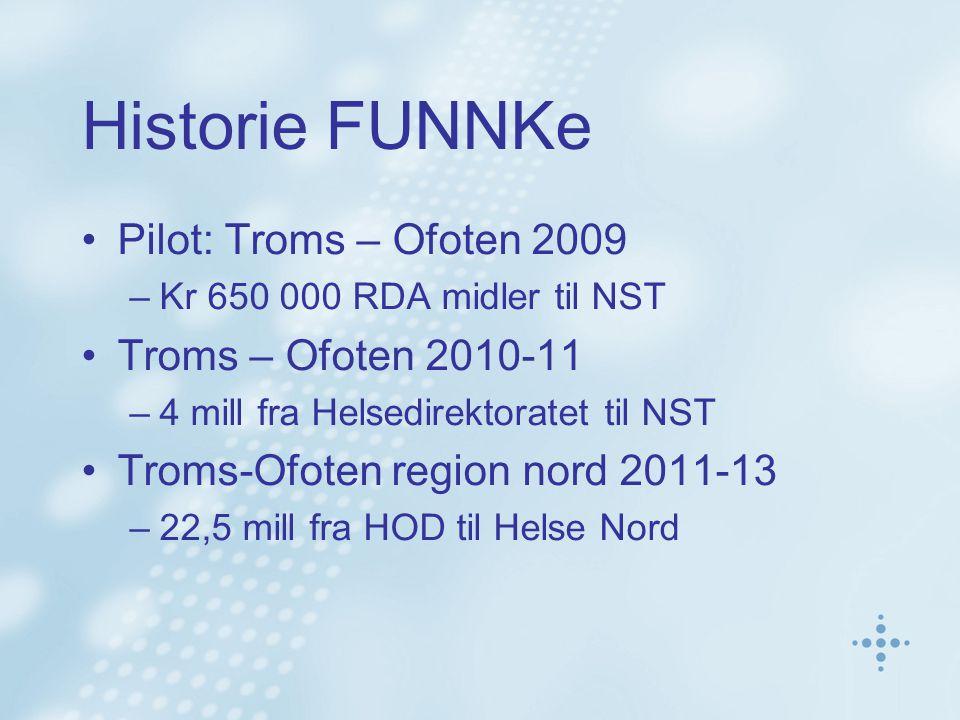 Historie FUNNKe Pilot: Troms – Ofoten 2009 –Kr 650 000 RDA midler til NST Troms – Ofoten 2010-11 –4 mill fra Helsedirektoratet til NST Troms-Ofoten re