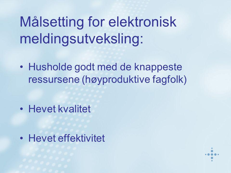 Målsetting for elektronisk meldingsutveksling: Husholde godt med de knappeste ressursene (høyproduktive fagfolk) Hevet kvalitet Hevet effektivitet