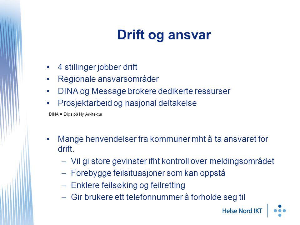 Drift og ansvar 4 stillinger jobber drift Regionale ansvarsområder DINA og Message brokere dedikerte ressurser Prosjektarbeid og nasjonal deltakelse Mange henvendelser fra kommuner mht å ta ansvaret for drift.