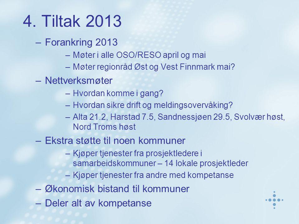 4. Tiltak 2013 –Forankring 2013 –Møter i alle OSO/RESO april og mai –Møter regionråd Øst og Vest Finnmark mai? –Nettverksmøter –Hvordan komme i gang?