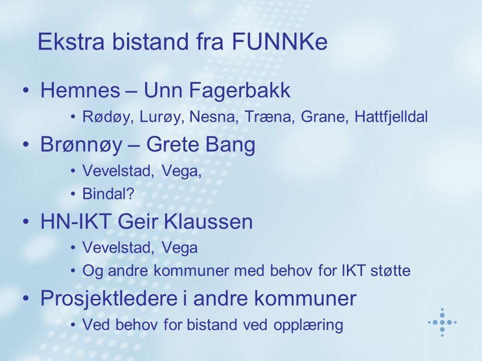 Ekstra bistand fra FUNNKe Hemnes – Unn Fagerbakk Rødøy, Lurøy, Nesna, Træna, Grane, Hattfjelldal Brønnøy – Grete Bang Vevelstad, Vega, Bindal? HN-IKT