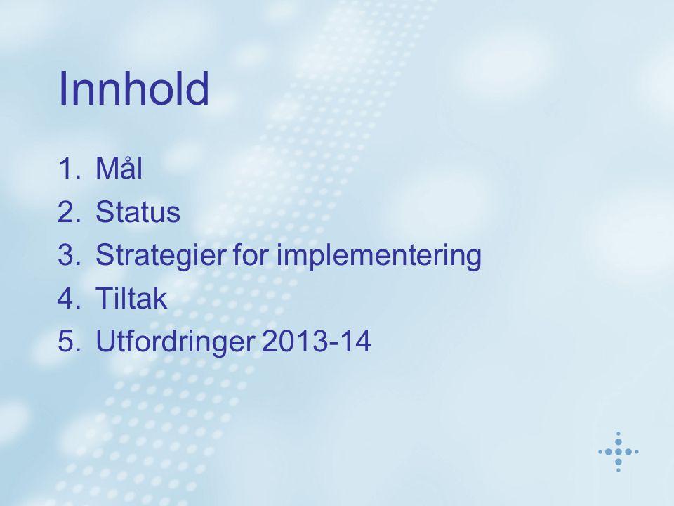 Innhold 1.Mål 2.Status 3.Strategier for implementering 4.Tiltak 5.Utfordringer 2013-14