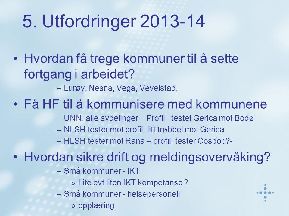 5. Utfordringer 2013-14 Hvordan få trege kommuner til å sette fortgang i arbeidet? –Lurøy, Nesna, Vega, Vevelstad, Få HF til å kommunisere med kommune