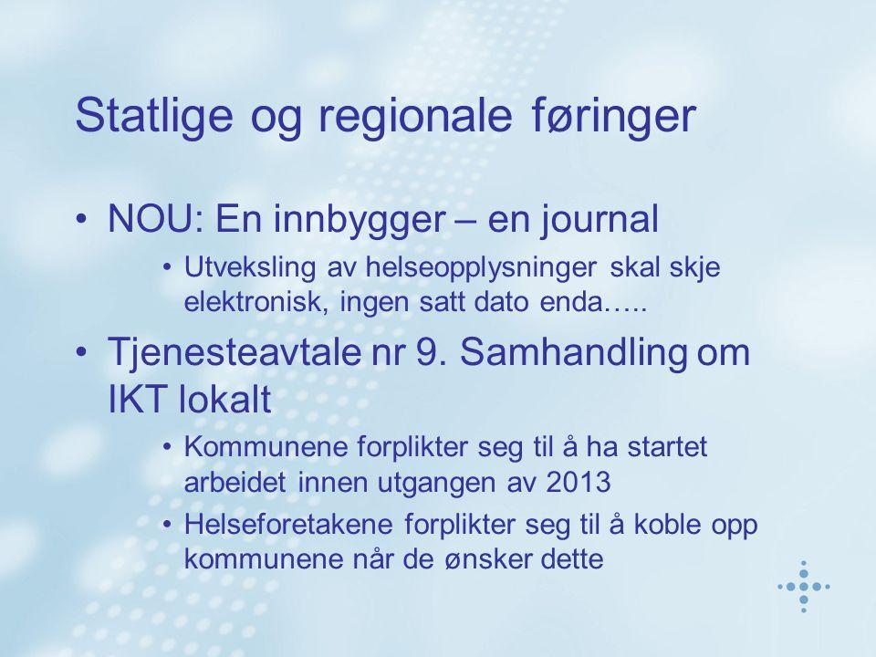 Statlige og regionale føringer NOU: En innbygger – en journal Utveksling av helseopplysninger skal skje elektronisk, ingen satt dato enda….. Tjenestea