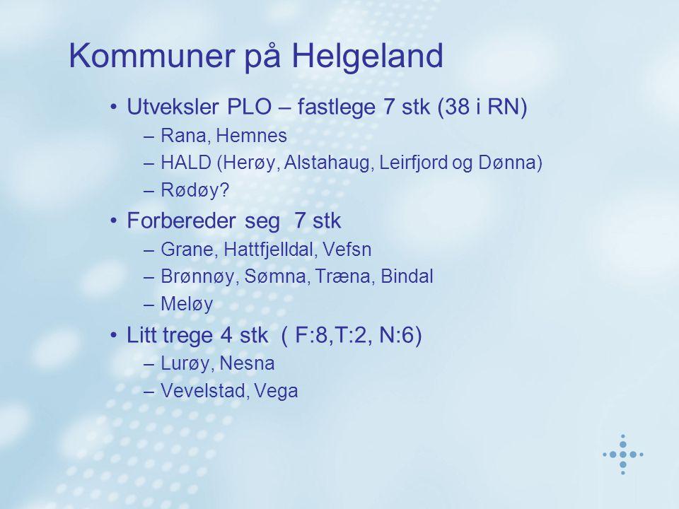 Kommuner på Helgeland Utveksler PLO – fastlege 7 stk (38 i RN) –Rana, Hemnes –HALD (Herøy, Alstahaug, Leirfjord og Dønna) –Rødøy? Forbereder seg 7 stk