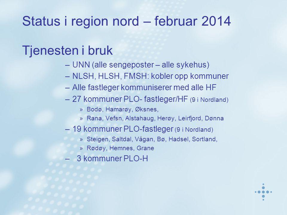 Status i region nord – februar 2014 Tjenesten i bruk –UNN (alle sengeposter – alle sykehus) –NLSH, HLSH, FMSH: kobler opp kommuner –Alle fastleger kommuniserer med alle HF –27 kommuner PLO- fastleger/HF (9 i Nordland) »Bodø, Hamarøy, Øksnes, »Rana, Vefsn, Alstahaug, Herøy, Leirfjord, Dønna –19 kommuner PLO-fastleger (9 i Nordland) »Steigen, Saltdal, Vågan, Bø, Hadsel, Sortland, »Rødøy, Hemnes, Grane – 3 kommuner PLO-H
