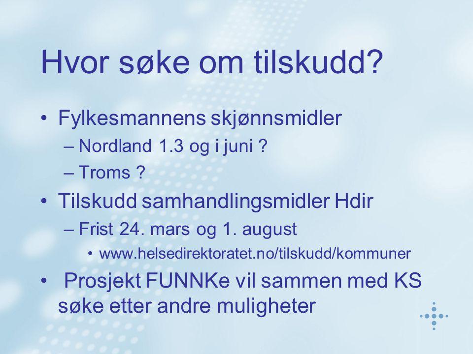 Hvor søke om tilskudd. Fylkesmannens skjønnsmidler –Nordland 1.3 og i juni .