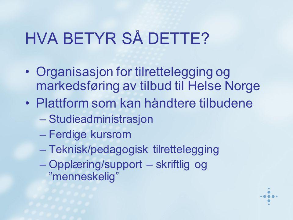 HVA BETYR SÅ DETTE? Organisasjon for tilrettelegging og markedsføring av tilbud til Helse Norge Plattform som kan håndtere tilbudene –Studieadministra