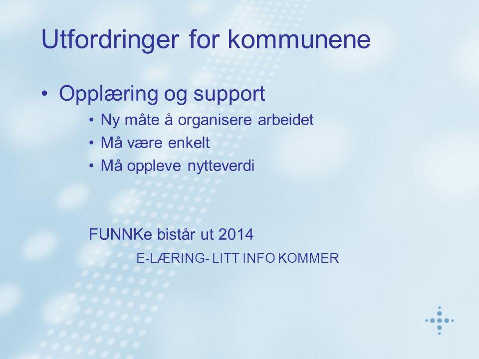 Utfordringer for kommunene Opplæring og support Ny måte å organisere arbeidet Må være enkelt Må oppleve nytteverdi FUNNKe bistår ut 2014 E-LÆRING- LITT INFO KOMMER
