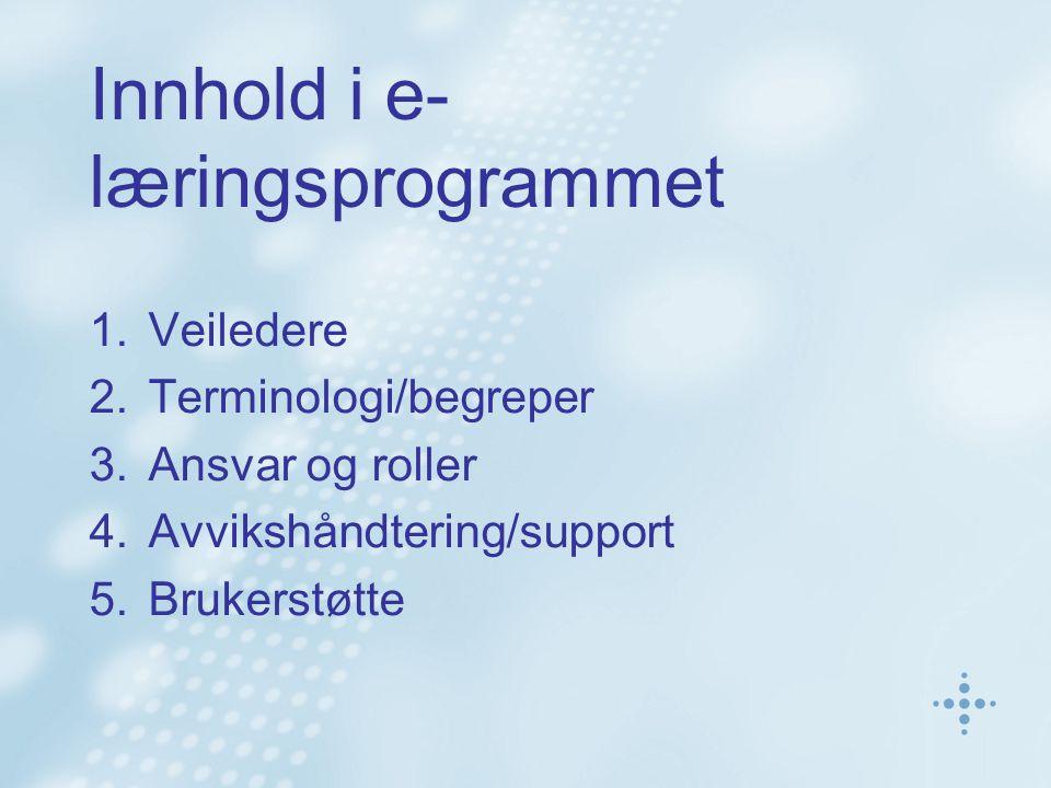Innhold i e- læringsprogrammet 1.Veiledere 2.Terminologi/begreper 3.Ansvar og roller 4.Avvikshåndtering/support 5.Brukerstøtte