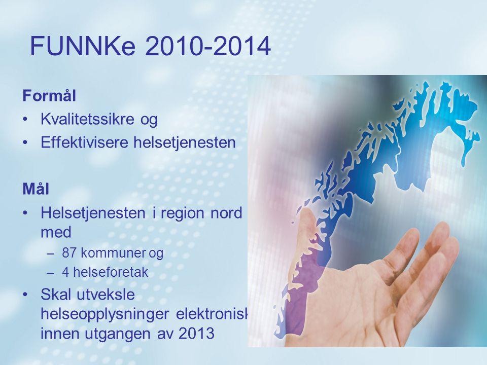 FUNNKe 2010-2014 Formål Kvalitetssikre og Effektivisere helsetjenesten Mål Helsetjenesten i region nord med –87 kommuner og –4 helseforetak Skal utvek