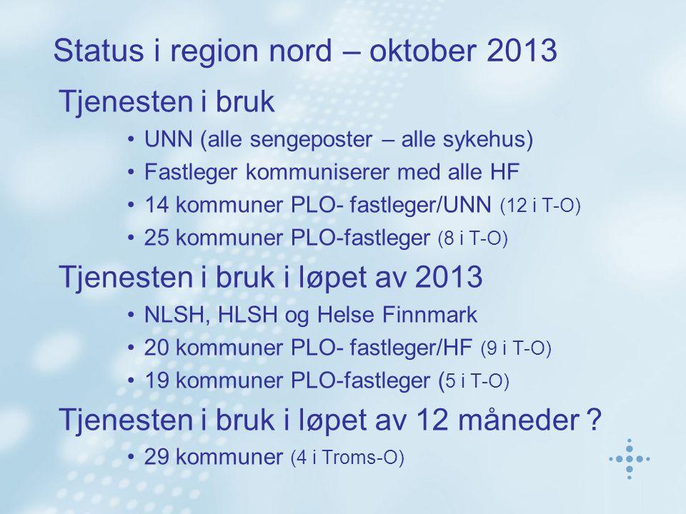 Status i region nord – oktober 2013 Tjenesten i bruk UNN (alle sengeposter – alle sykehus) Fastleger kommuniserer med alle HF 14 kommuner PLO- fastleger/UNN (12 i T-O) 25 kommuner PLO-fastleger (8 i T-O) Tjenesten i bruk i løpet av 2013 NLSH, HLSH og Helse Finnmark 20 kommuner PLO- fastleger/HF (9 i T-O) 19 kommuner PLO-fastleger ( 5 i T-O) Tjenesten i bruk i løpet av 12 måneder .