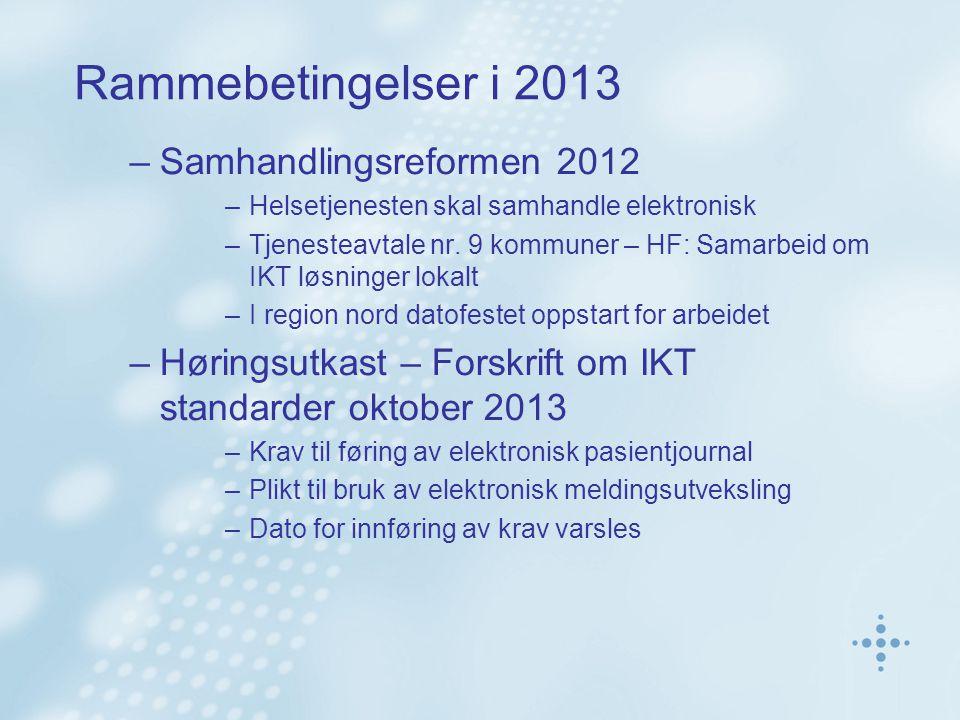Rammebetingelser i 2013 –Samhandlingsreformen 2012 –Helsetjenesten skal samhandle elektronisk –Tjenesteavtale nr. 9 kommuner – HF: Samarbeid om IKT lø