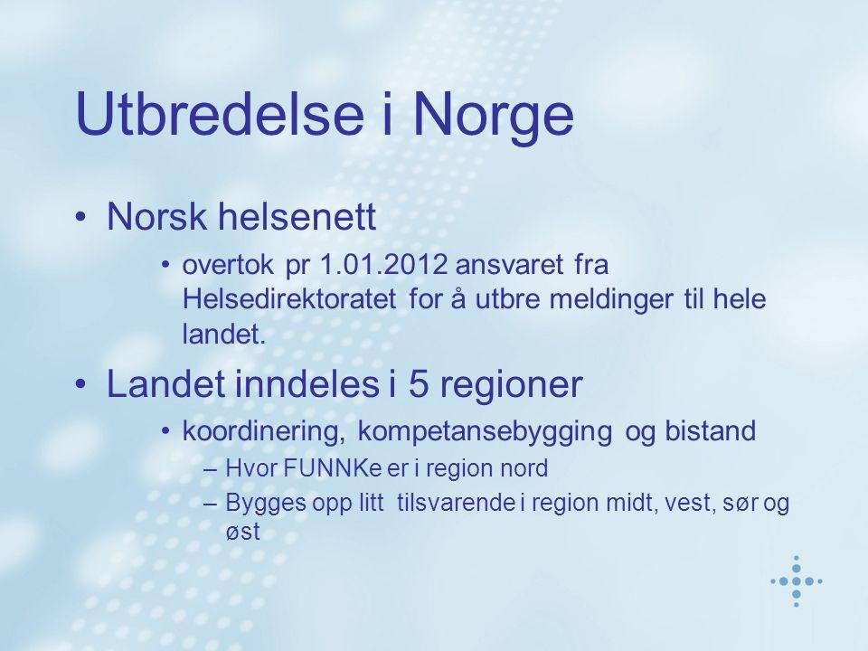 Utbredelse i Norge Norsk helsenett overtok pr 1.01.2012 ansvaret fra Helsedirektoratet for å utbre meldinger til hele landet.