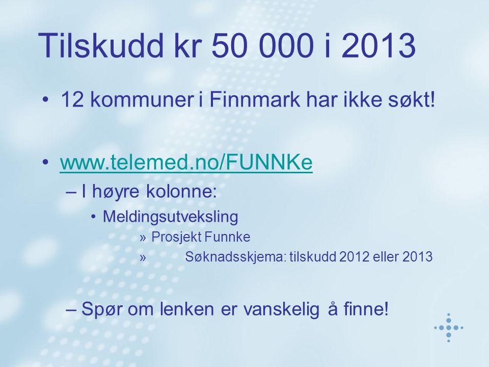 Tilskudd kr 50 000 i 2013 12 kommuner i Finnmark har ikke søkt.