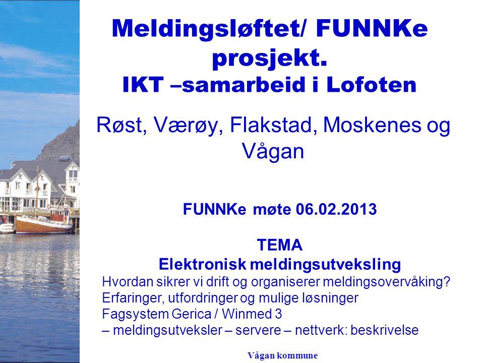 Vågan kommune Meldingsløftet/ FUNNKe prosjekt. IKT –samarbeid i Lofoten Røst, Værøy, Flakstad, Moskenes og Vågan FUNNKe møte 06.02.2013 TEMA Elektroni