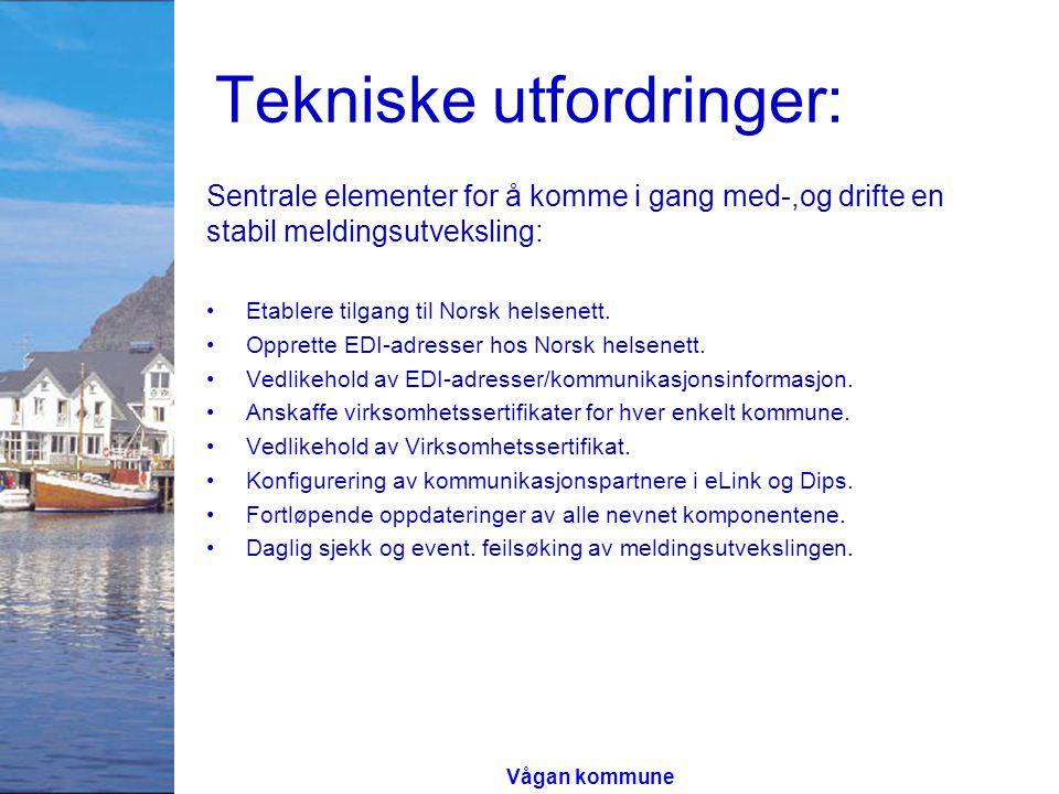 Tekniske utfordringer: Sentrale elementer for å komme i gang med-,og drifte en stabil meldingsutveksling: Etablere tilgang til Norsk helsenett. Oppret