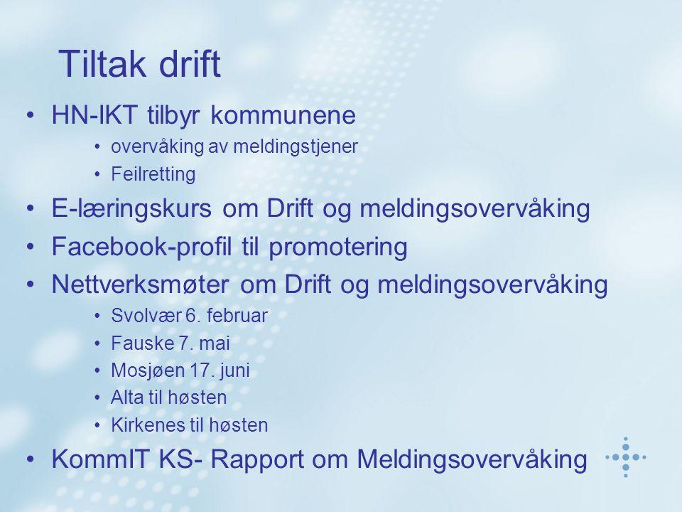 Tiltak drift HN-IKT tilbyr kommunene overvåking av meldingstjener Feilretting E-læringskurs om Drift og meldingsovervåking Facebook-profil til promotering Nettverksmøter om Drift og meldingsovervåking Svolvær 6.