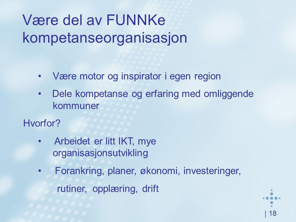 | 18 Være del av FUNNKe kompetanseorganisasjon Være motor og inspirator i egen region Dele kompetanse og erfaring med omliggende kommuner Hvorfor? Arb