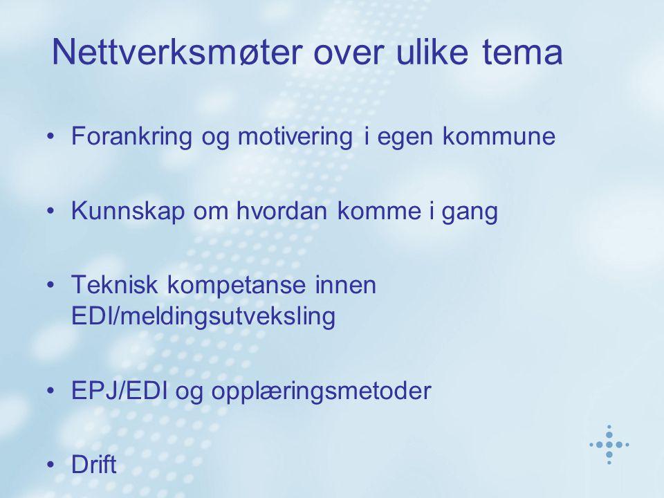 Nettverksmøter over ulike tema Forankring og motivering i egen kommune Kunnskap om hvordan komme i gang Teknisk kompetanse innen EDI/meldingsutvekslin
