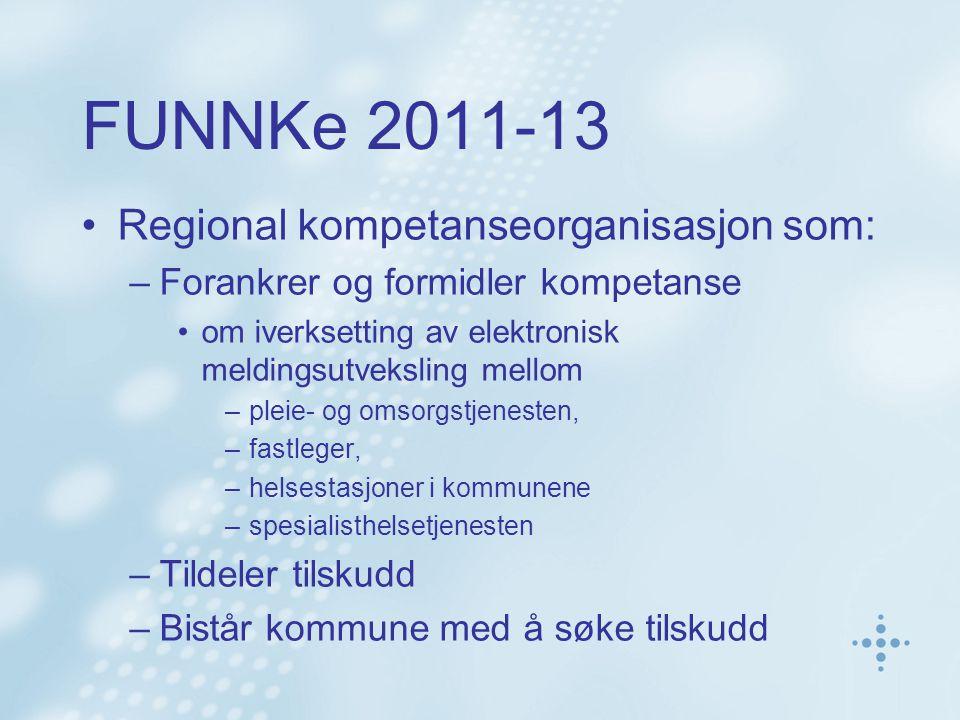 FUNNKe 2011-13 Regional kompetanseorganisasjon som: –Forankrer og formidler kompetanse om iverksetting av elektronisk meldingsutveksling mellom –pleie
