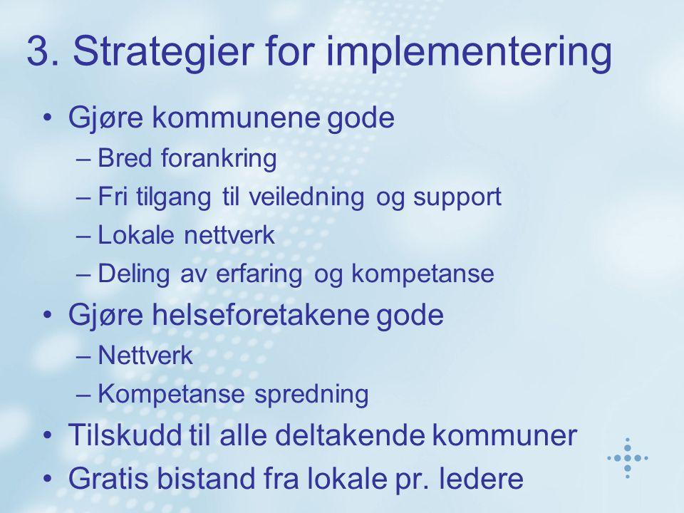 3. Strategier for implementering Gjøre kommunene gode –Bred forankring –Fri tilgang til veiledning og support –Lokale nettverk –Deling av erfaring og