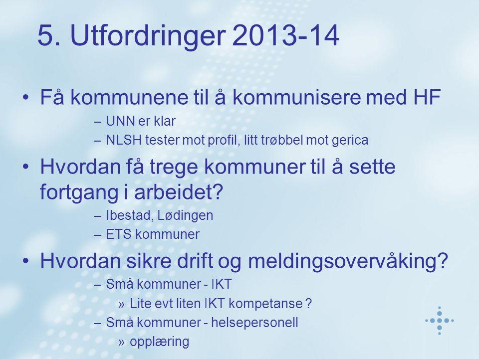 5. Utfordringer 2013-14 Få kommunene til å kommunisere med HF –UNN er klar –NLSH tester mot profil, litt trøbbel mot gerica Hvordan få trege kommuner