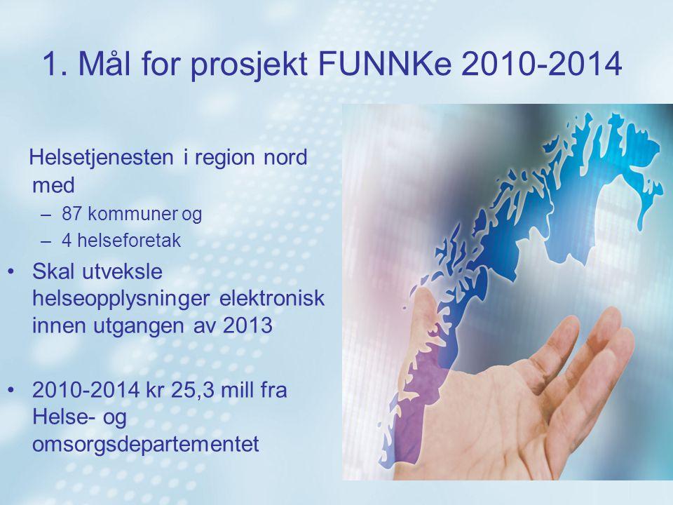 1. Mål for prosjekt FUNNKe 2010-2014 Helsetjenesten i region nord med –87 kommuner og –4 helseforetak Skal utveksle helseopplysninger elektronisk inne
