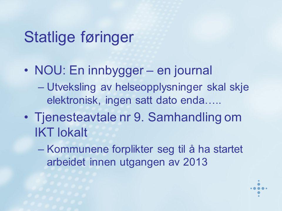 Statlige føringer NOU: En innbygger – en journal –Utveksling av helseopplysninger skal skje elektronisk, ingen satt dato enda…..