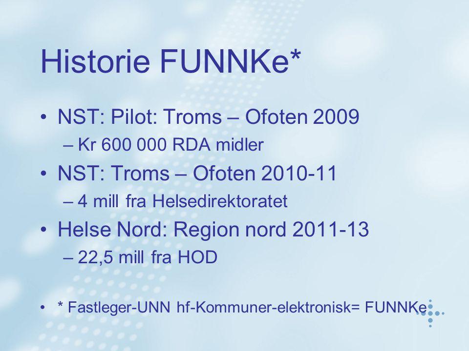 Historie FUNNKe* NST: Pilot: Troms – Ofoten 2009 –Kr 600 000 RDA midler NST: Troms – Ofoten 2010-11 –4 mill fra Helsedirektoratet Helse Nord: Region nord 2011-13 –22,5 mill fra HOD * Fastleger-UNN hf-Kommuner-elektronisk= FUNNKe