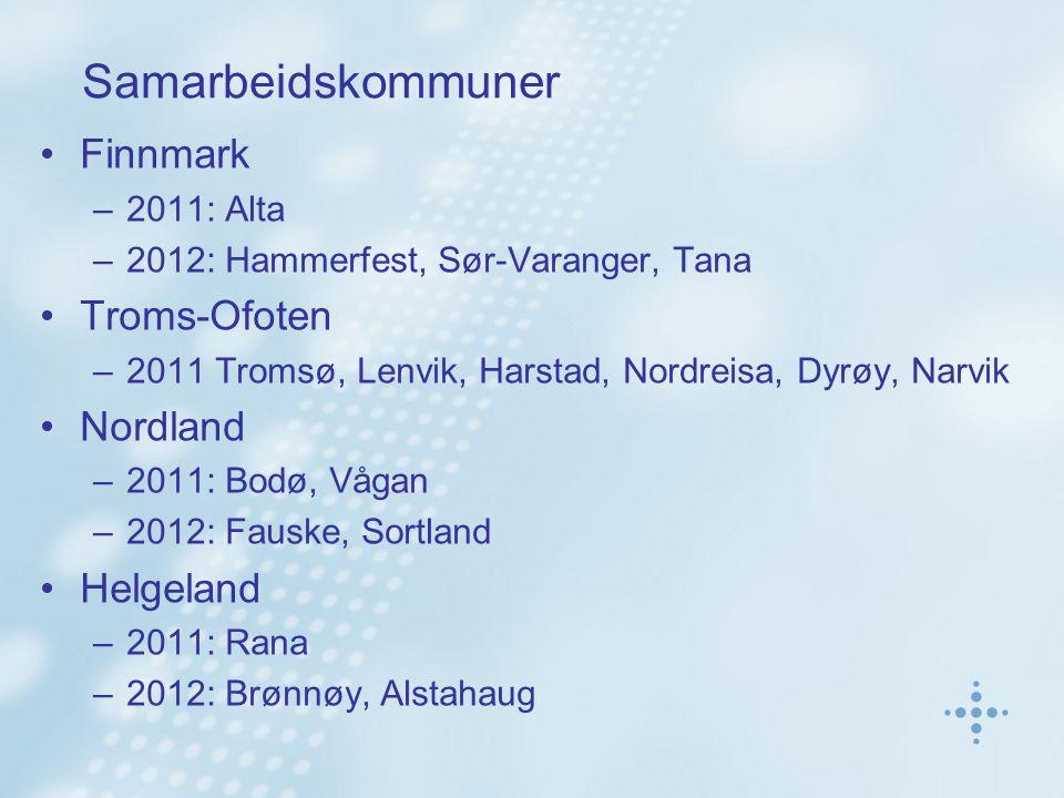 Samarbeidskommuner Finnmark –2011: Alta –2012: Hammerfest, Sør-Varanger, Tana Troms-Ofoten –2011 Tromsø, Lenvik, Harstad, Nordreisa, Dyrøy, Narvik Nordland –2011: Bodø, Vågan –2012: Fauske, Sortland Helgeland –2011: Rana –2012: Brønnøy, Alstahaug
