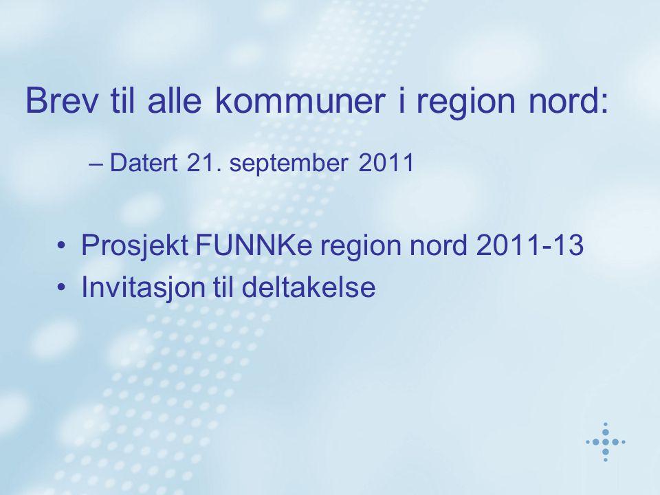 Brev til alle kommuner i region nord: –Datert 21.