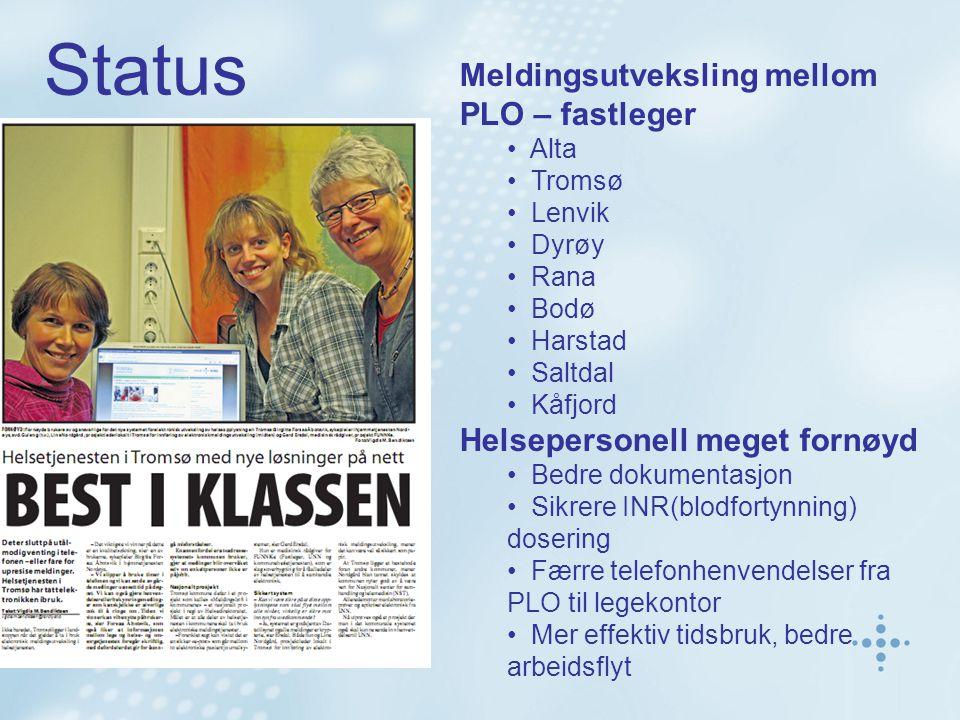 Meldingsutveksling mellom PLO – fastleger Alta Tromsø Lenvik Dyrøy Rana Bodø Harstad Saltdal Kåfjord Helsepersonell meget fornøyd Bedre dokumentasjon Sikrere INR(blodfortynning) dosering Færre telefonhenvendelser fra PLO til legekontor Mer effektiv tidsbruk, bedre arbeidsflyt Status